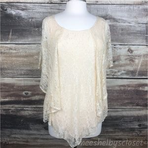 A'Reve Lace Sheer Poncho Top